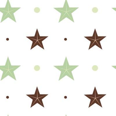Plakat streszczenie zielone i niebieskie gwiazdy bez szwu wektor wzór ilustracja tło w kolorze skandynawskich