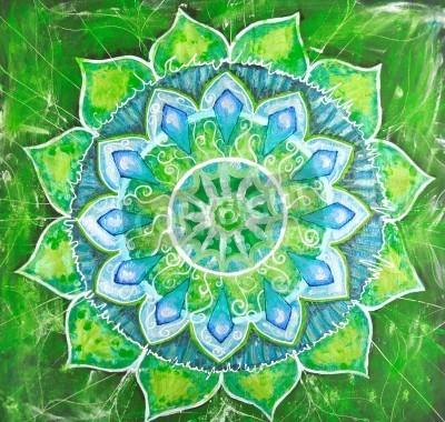 Plakat Streszczenie zielony namalowany obraz z okręgu deseń, mandala anahata czakry