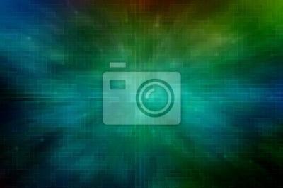 Streszczenie zielony piksel prostokąt kształt obwodu futurystyczne tło z efektem promienia osnowy. Dla technologii, sieci, nowoczesnego tematu komunikacji