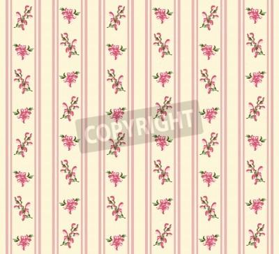 Plakat Striped retro rose seamless in village style