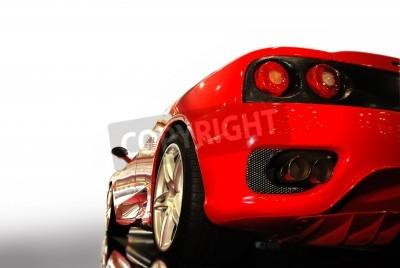 Plakat strzał z czerwonym sportowym samochodem (Ferrari)