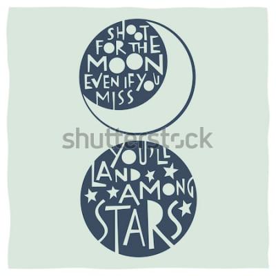 Plakat Strzelaj na księżyc, nawet jeśli tęsknisz, lądujesz wśród gwiazd. Cytuj kaligrafię z rysunkami księżyca i gwiazd