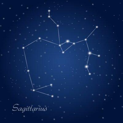 Plakat Strzelec gwiazdozbiór zodiakalny na rozgwieżdżone niebo
