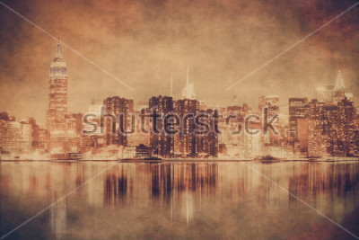 Plakat Styl Vintage Nowy Jork panorama Manhattanu z grunge tekstur