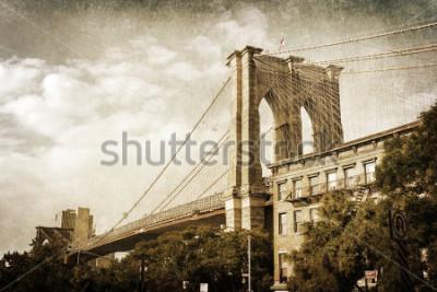 Plakat Styl vintage zdjęcie z Brooklyn Bridge w Nowym Jorku