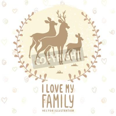 Plakat Stylowe karty z sylwetka piękne jeleni rodziny. ilustracji wektorowych