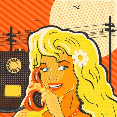 Plakat Stylu pop dziewczyny z telefonu