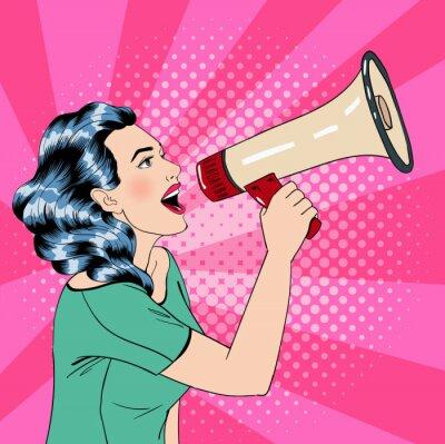 Plakat Stylu pop kobieta z megafonem