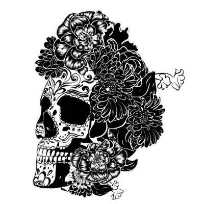 Plakat Sugar skull in monochrome