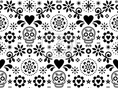 Plakat Sugar skull vector seamless pattern inspired by Mexican folk art, Dia de Los Muertos repetitive design black and white
