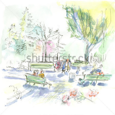 Plakat Summer park, sketch, watercolor