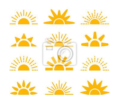 Plakat Sunrise & sunset symbol collection. Horizon flat vector icons. Morning sunlight signs. Isolated object. Yellow sun rise over horison.