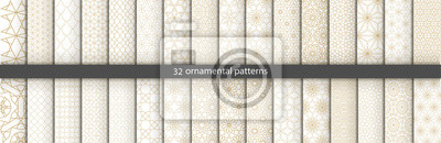 Plakat Super Big set of 32 oriental patterns. White and gold background with Arabic ornaments. Patterns, backgrounds and wallpapers for your design. Textile ornament. Vector illustration.