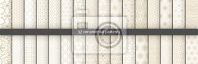 Plakat Super Duży zestaw 32 orientalnych wzorów. Białe i złote tło z arabskimi ornamentami. Wzory, tła i tapety do projektowania. Ozdoba tekstylna. Ilustracji wektorowych.