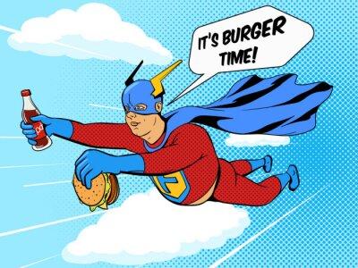 Plakat Superhero grubas i Burger komiks wektora