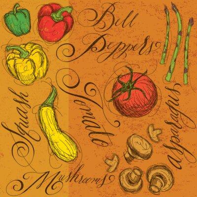 Plakat Surowe warzywa z kaligrafii