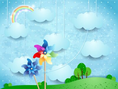 Plakat Surrealistyczny krajobraz z pinwheels i wiszące chmury