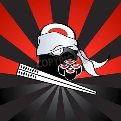 Plakat Sushi ninja with dangerous katana-chopsticks and spicy rolls