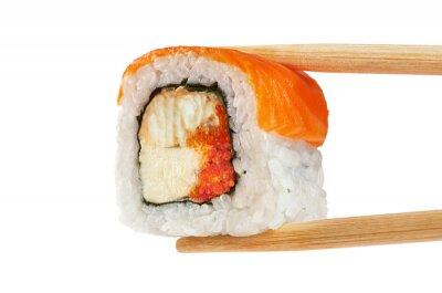 Plakat sushi z łososiem, węgorz, kawior i sera Philadelphia. Ch