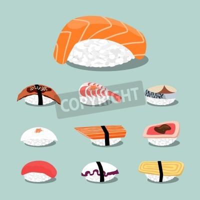 Plakat Sushi zestaw ikon