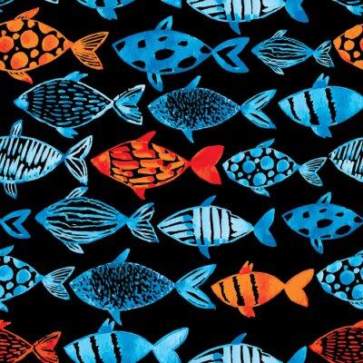 Plakat Światło akwarela niebieskie i złote ryby na czarnym tle.