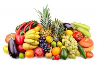 Plakat świeże owoce i warzywa samodzielnie na białym tle