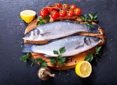 Plakat świeże ryby okoń morski