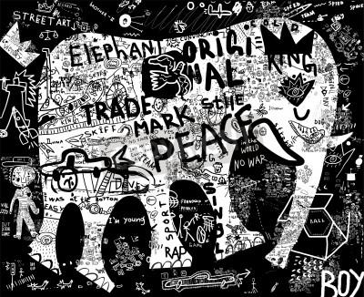 Plakat Sylwetka słonia, który zawiera wiele symboli