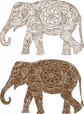 Plakat Sylwetka słonia w indyjskich wzorów mehendi