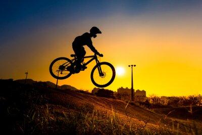 Plakat Sylwetka Stunt BMX rider - odcień koloru tuned