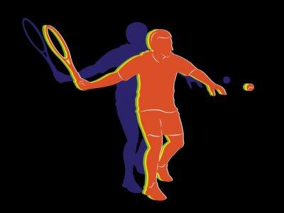 Plakat sylwetka tenisista, grafiki wektorowej