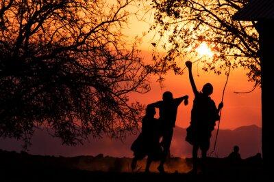 Plakat Sylwetki dzieci Masajów