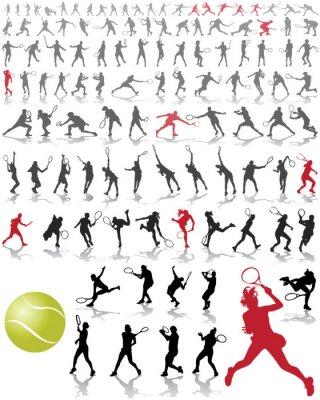 Plakat Sylwetki i cienie tenisistów, ilustracji wektorowych