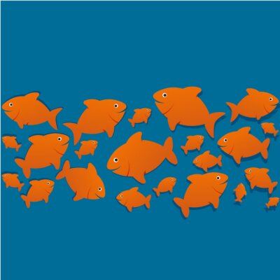 Plakat sylwetki poissons