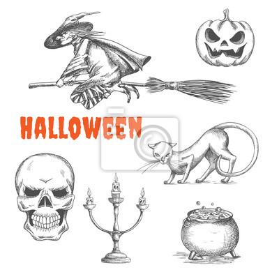 Symbole Halloween ozdoba szkic ołówkiem