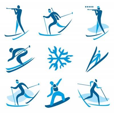 Plakat Symbole sportów zimowych