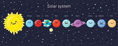 Plakat system słoneczny z cute uśmiechnięta planet, słońca i księżyca.