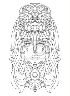 Szaman kobieta z maską w postaci kruka czaszki