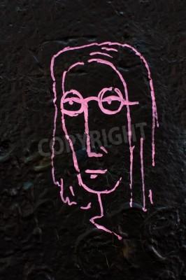 Plakat Szczegóły od słynnego ściany Lennon w Pradze