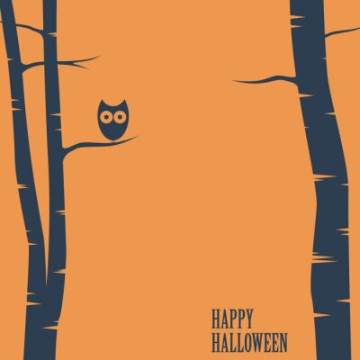 Plakat Szczęśliwa karta halloween z sowy siedzącej na drzewie. Pocztówki wakacyjne