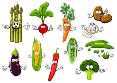 Plakat Szczęśliwi warzywa farm postaci z kreskówek
