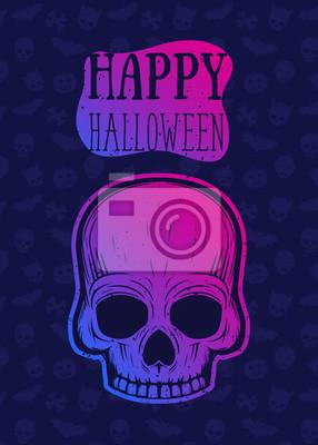 Szczęśliwy halloween wektor plakat, projekt transparentu z czaszką