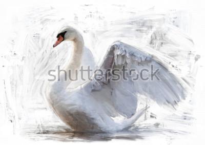 Plakat szkic biały łabędzia / obraz olejny