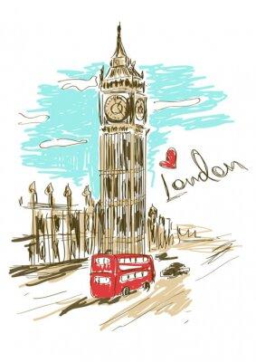 Plakat Szkic ilustracji wieży Big Ben