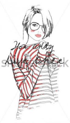 Plakat szkic moda dziewczyna rysunek z akwarela