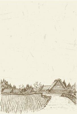 Plakat Szkic światowego dziedzictwa miejscowości Shirakawa-go w Japonii