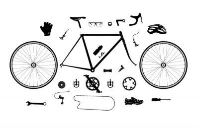 Plakat Szlak rowerowy Części i akcesoria sylwetka zestaw, elementy infografika, etc