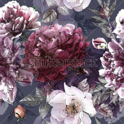 Plakat sztuka vintage ołówek kwiatowy kolorowy wzór z białych róż i fioletowe piwonie na tle. Podwójna ekspozycja i efekt bokeh