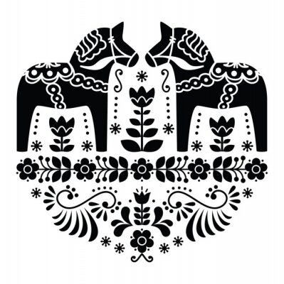Plakat Szwedzki koń Dala lub Daleclarian ludowa w czarny wzór