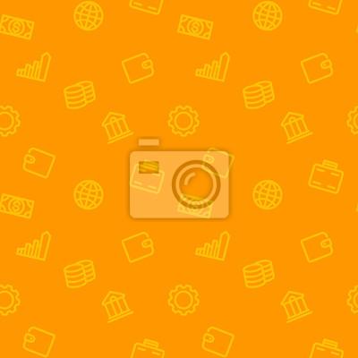 szwu z finansów, ikony linii pieniędzy, pomarańczowym tle